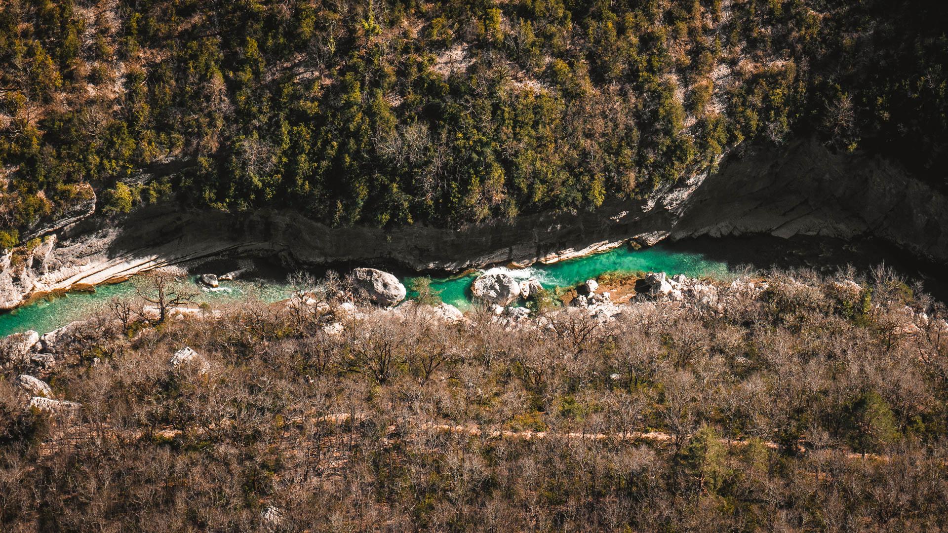 porzione fiume verdon dall'alto