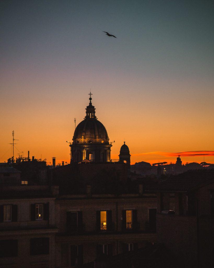 Tramonto a Roma visto dalle scale di piazza di spagna