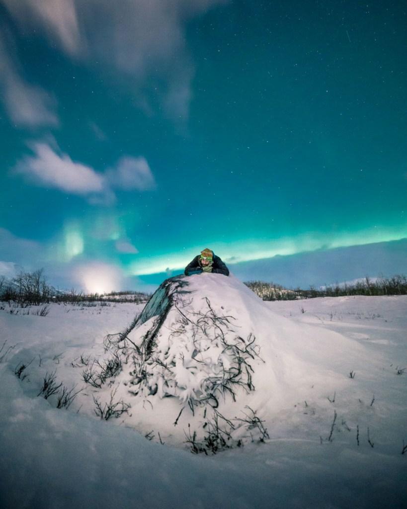 Selfie con aurora boreale ad Abisko