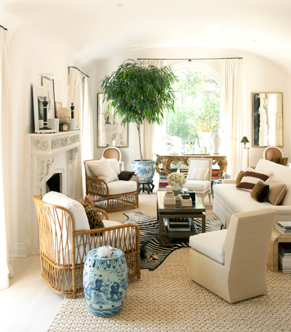 mark d sikes living room white natural Chinese zebra sisal rattan house beautiful1 Living Room D