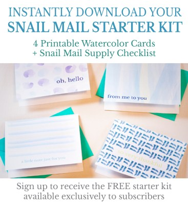 Free printable watercolor note cards + snail mail supply checklist