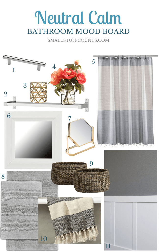 Love the greys and textures in this bathroom mood board!