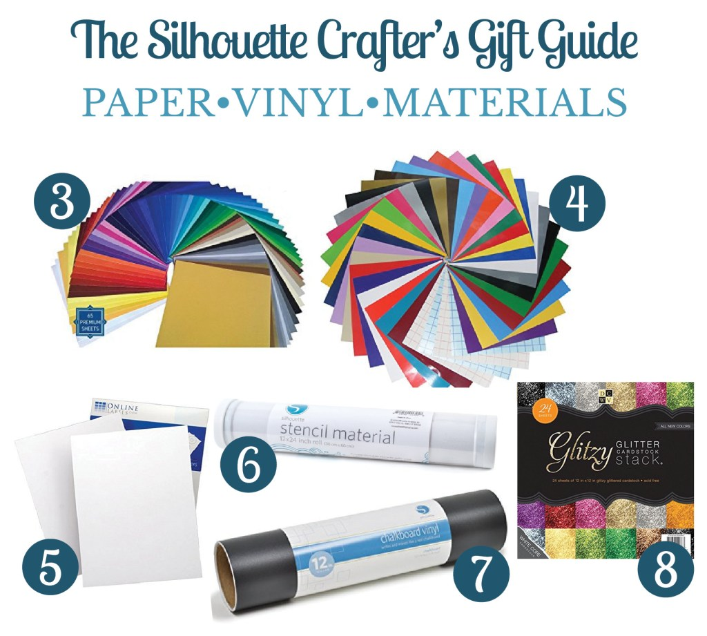 Collage of images showing gift ideas for the silhouette crafters including paper and vinyl materials