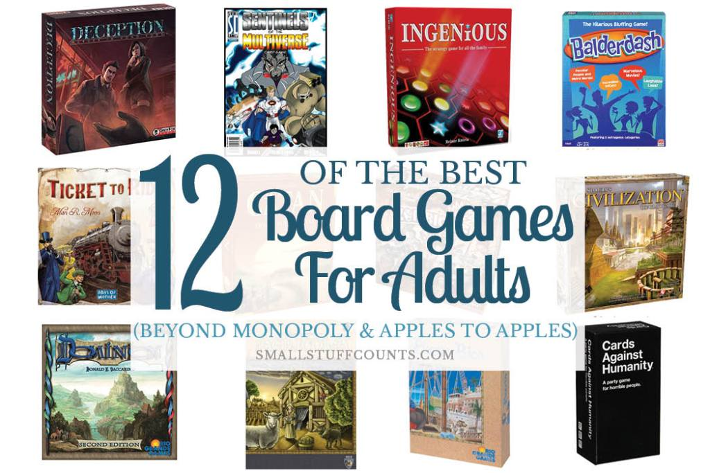 Collage of 12 images of best board games for adults