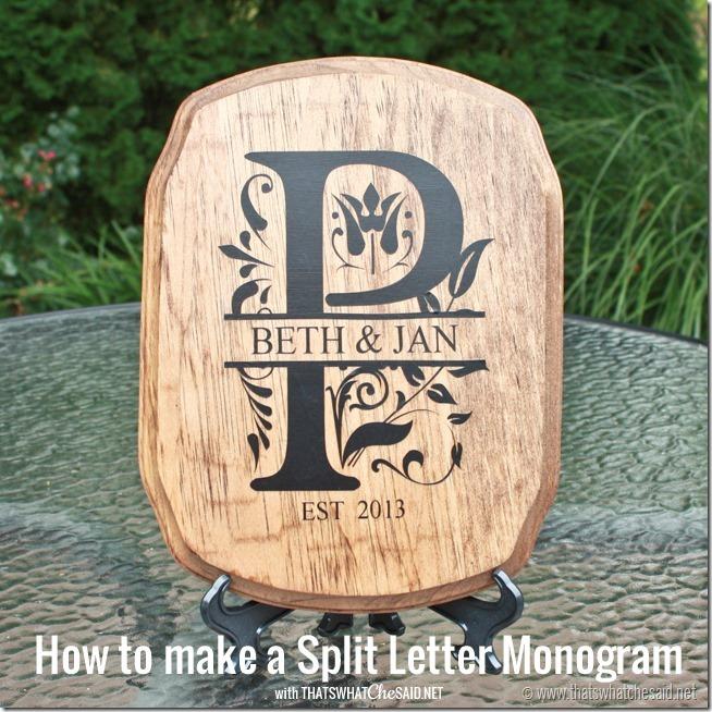 Image of DIY monogram plaque gift idea using Silhouette