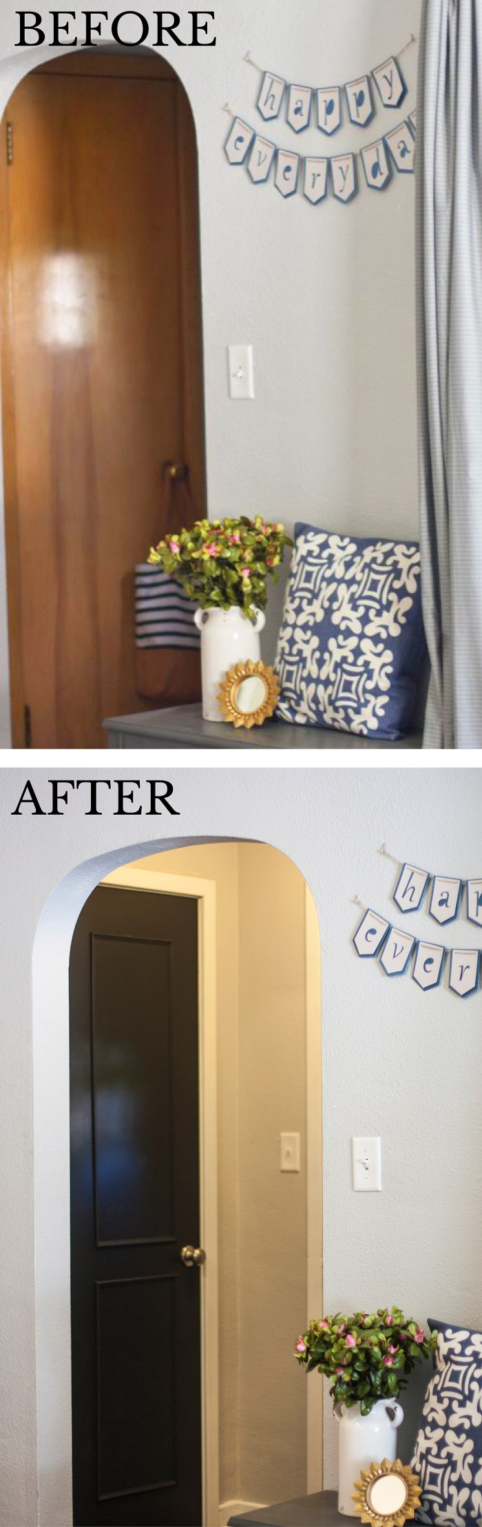 Considering painting your interior doors black? Check out this DIY door makeover–the black doors and white trim look beautiful! And check out that hardware!