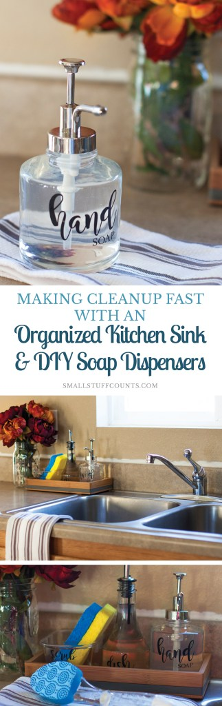 Check out this pretty & organized kitchen sink! Love the idea of a sink-side tray for organizing dishwashing supplies & those DIY soap dispensers are cute.