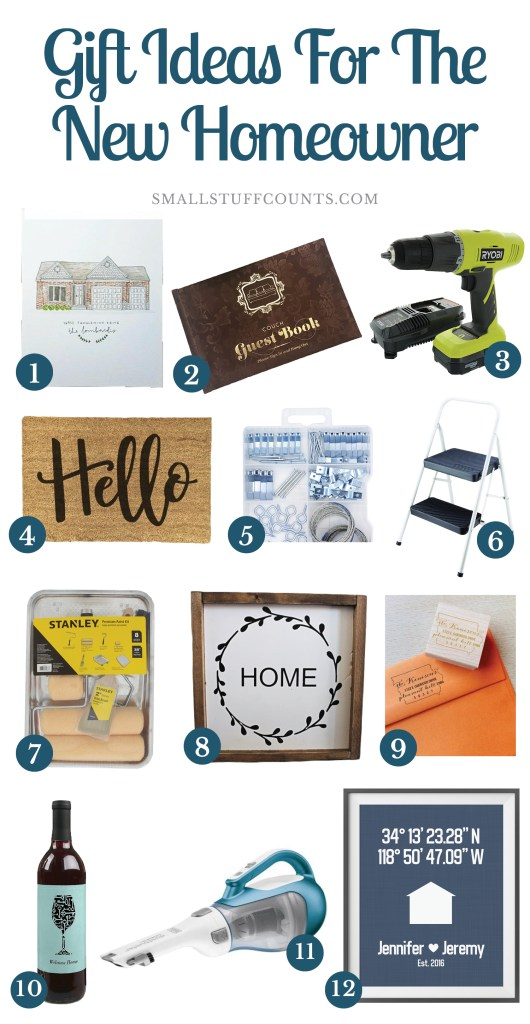 Collage of 12 images of gift ideas for the new homeowner