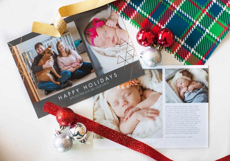 This family Christmas card is so classy! Love how they put a Christmas letter on the back and made it double as a Christmas baby announcement. #ChristmasCards #ChristmasCardDisplay #Christmas #ChristmasDecor #DIYChristmas
