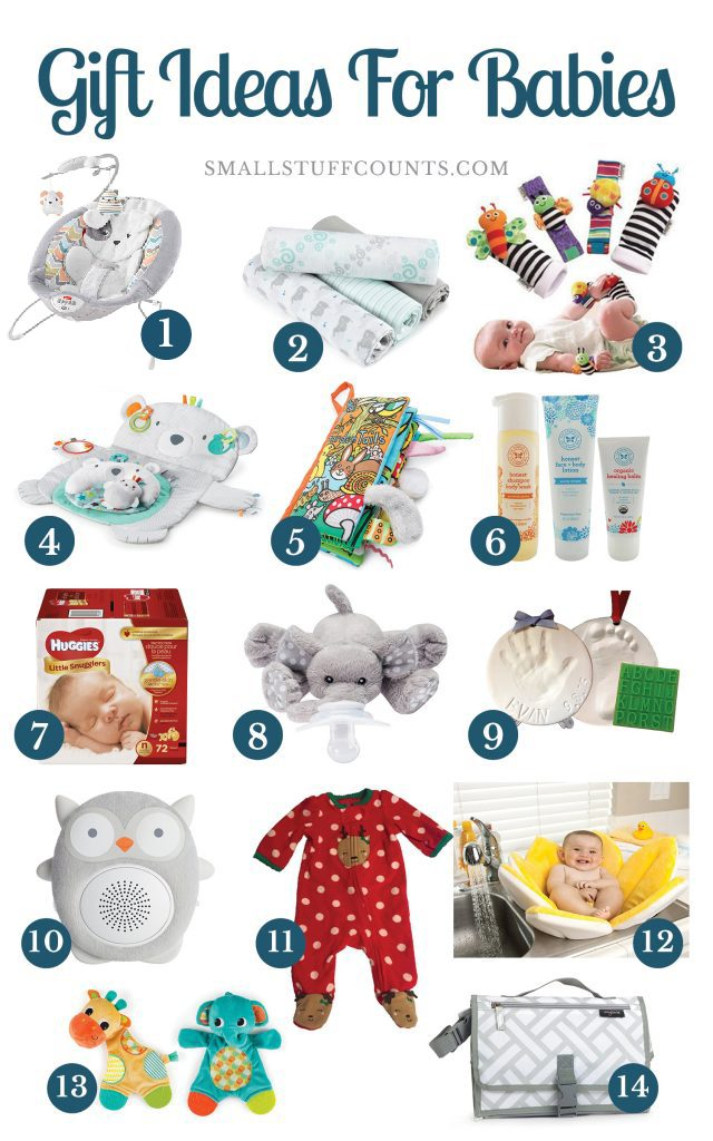 collage graphic with 14 gift ideas for babies in their first year