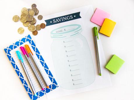 savings-tracker-printable-on-table