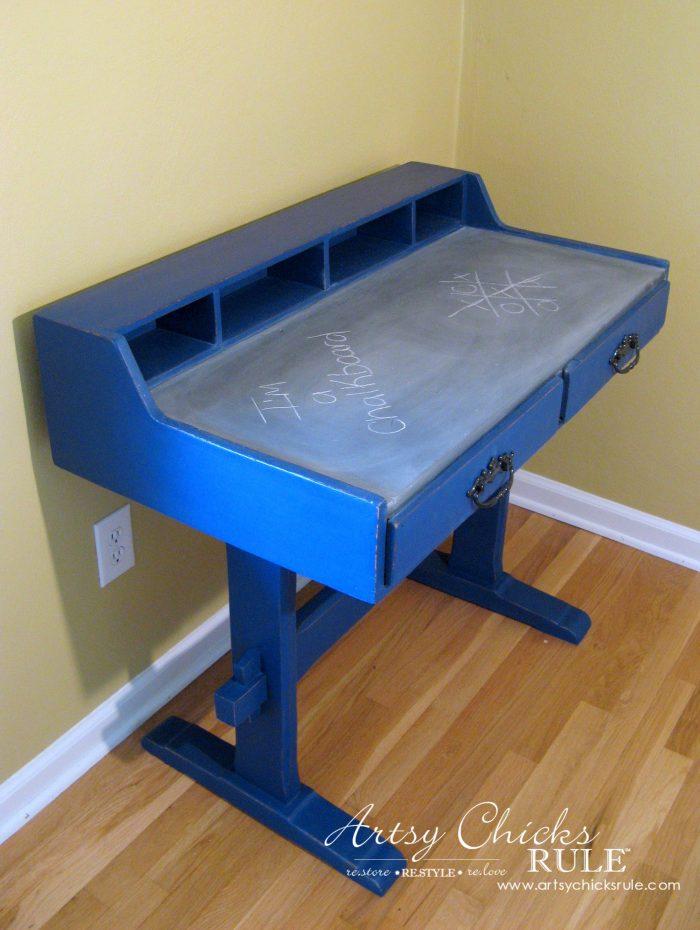 chalk painted blue desk