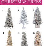 6 flocked christmas trees