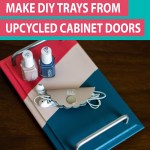 painted diy tray with pink and blue strips and silver handles