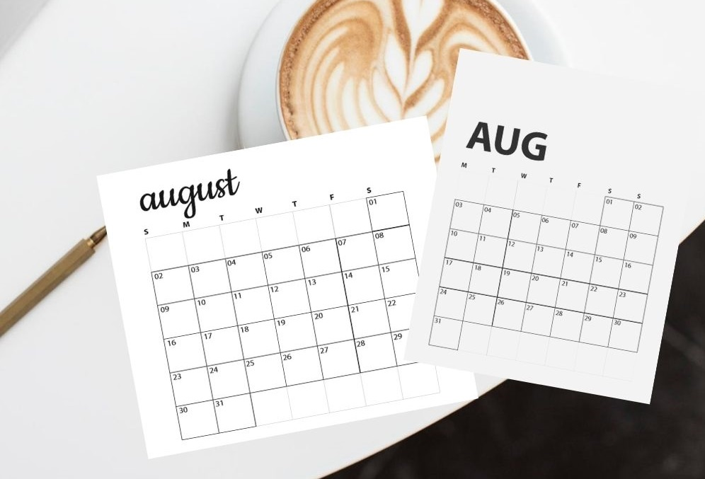 latte image with august calendars overlay