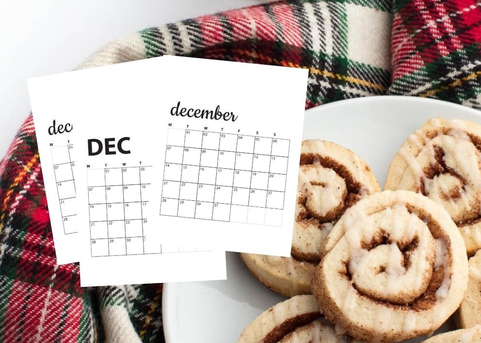 image of cinnamon rolls with december calendars