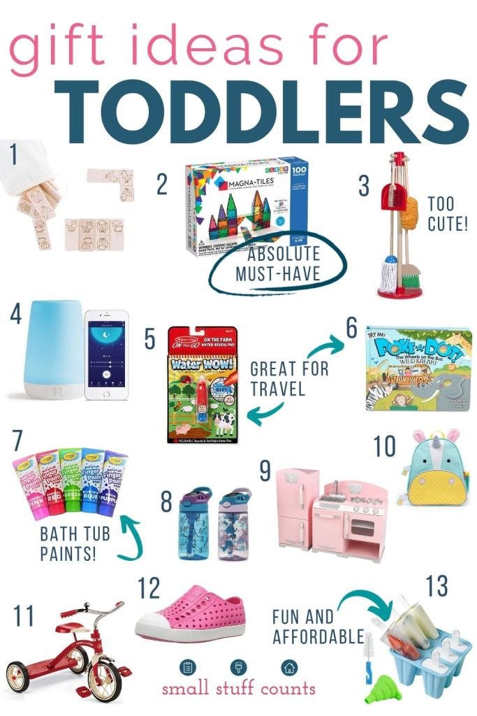 collage of gift ideas for toddlers