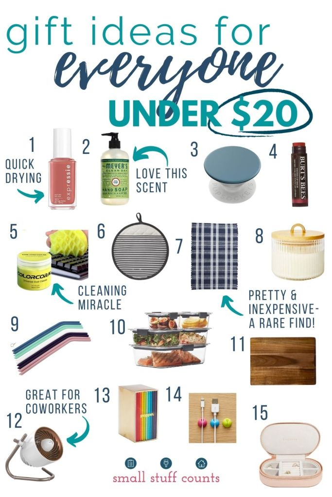 collage of gift ideas under $20