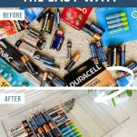 before and after photos from organizing batteries