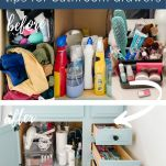 before and after photos of bathroom organization project