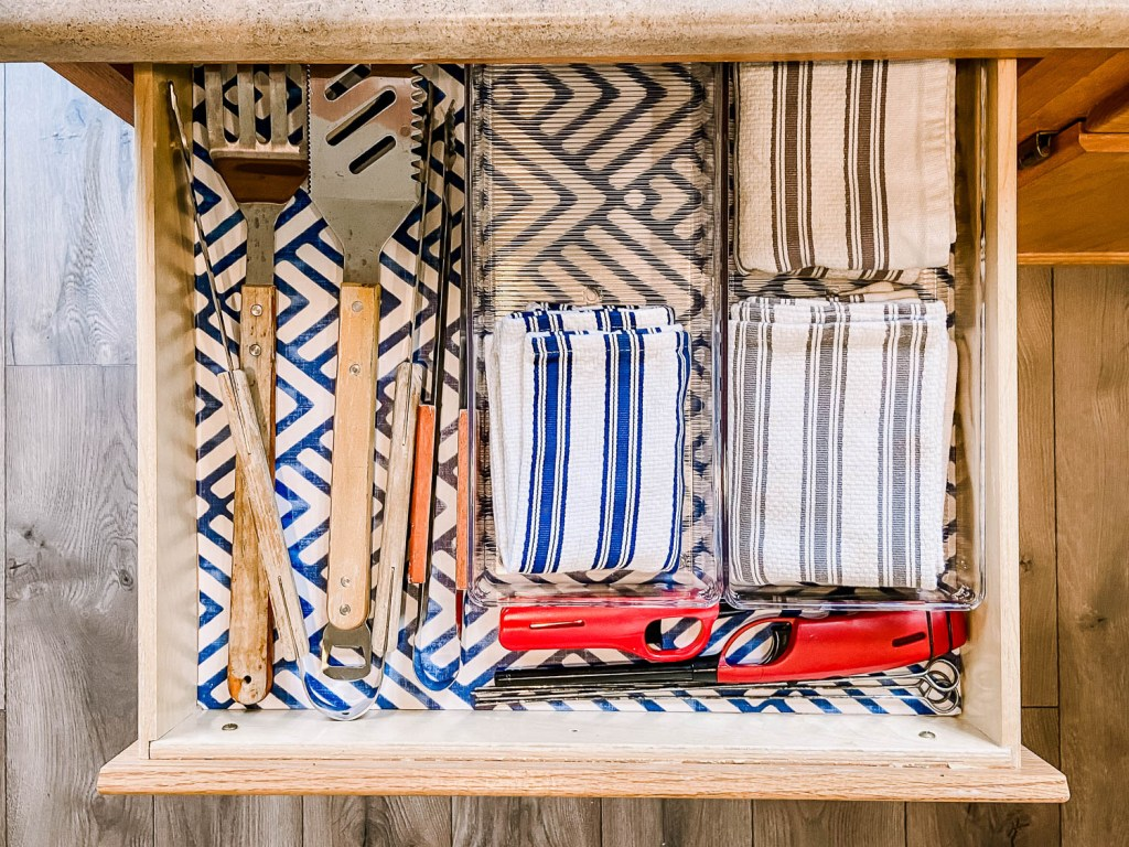 kitchen drawer with grilling supplies