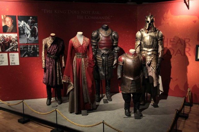 Pictured are costumes and outfits from HBO's Game of Thrones Exhibition which opens at Titanic Belfast tomorrow (June 8) until June 17. More than 13,500 fans have already booked up tickets to the hotly-anticipated exhibition which was brought to Northern Ireland by NITB in partnership with NI Screen and Titanic Belfast. Belfast is the only city in the British Isles hosting the exhibition at Titanic Belfast and 30% of bookings have been made by fans as far afield as Australia, the Philippines and the USA.   Picture by Brian Thompson/ Press Eye