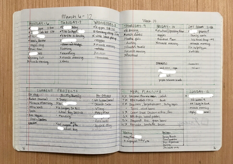 Using a Bullet Journal to change your life - weekly log 2