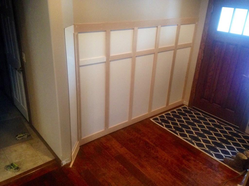 adding trim to backer board in entryway