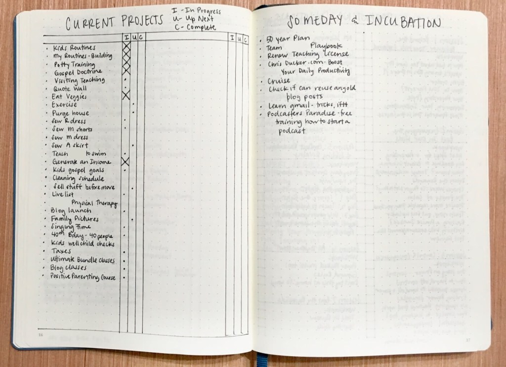 Bullet journal to get the right things done using GTD current projects, someday and incubation