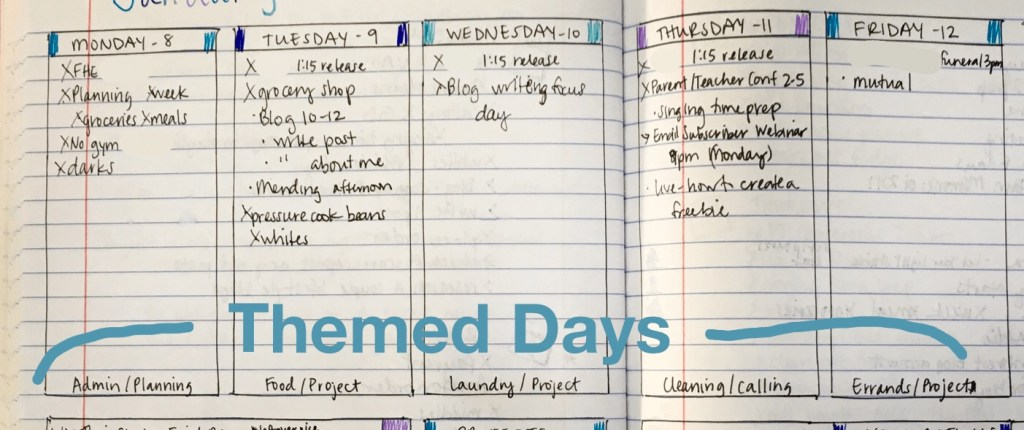 Bullet journal to get the right things done themed days