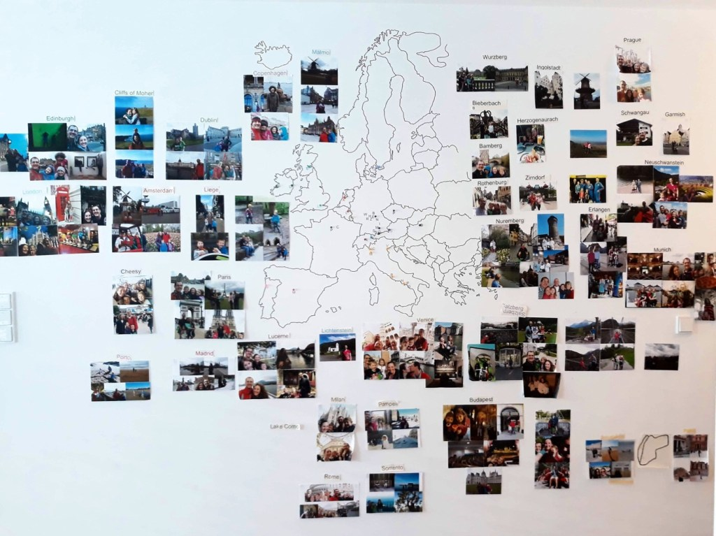 Map of Europe and places the Templeton family has visited