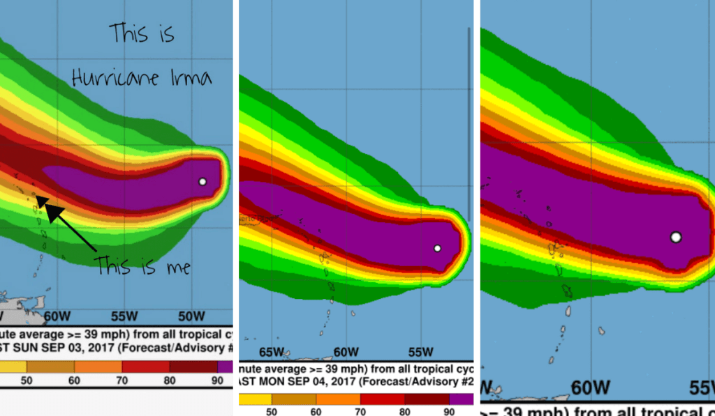 Hurricane Irma approaching caribbean islands