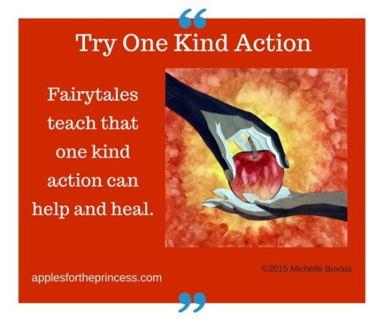 image with caption: fairytales teach that one kind action can help and heal