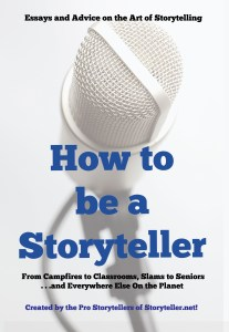 cover of how to be a storyteller book with large blue words and a faded image of a microphone behind the words