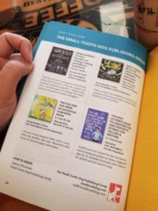 showing the inside of the indie titles catalog page 24 featuring four books by arizona publisher small tooth dog publishing