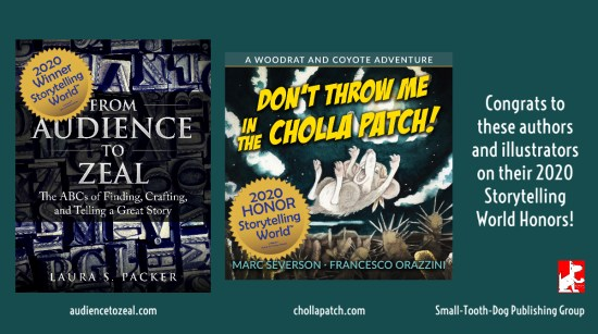 showing our books from audience to zeal and dont throw me in the cholla patch along with gold award callouts