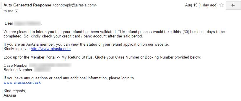 Air Asia refund