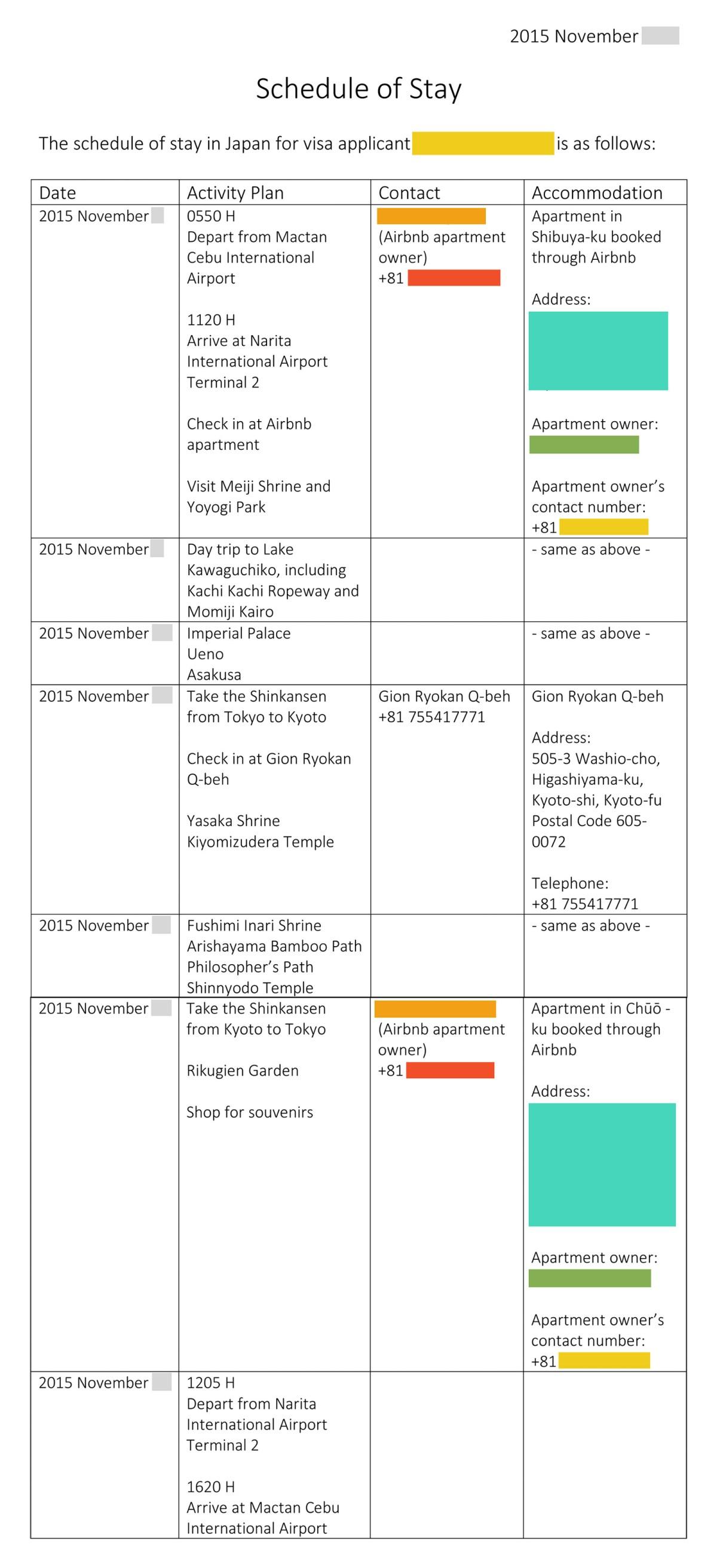 SGMT Japan Visa_Schedule of Stay_Sample