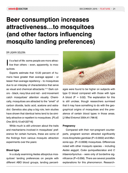Beer consumption increases attractiveness...to mosquitoes (and other factors influencing mosquito landing preferences)