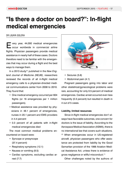 """""""Is there a doctor on board?"""": In-flight medical emergencies"""