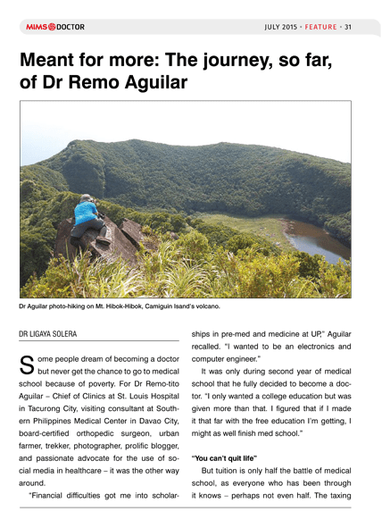 Meant for more: The journey, so far, of Dr Remo Aguilar