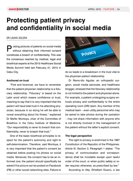 Protecting patient privacy and confidentiality in social media