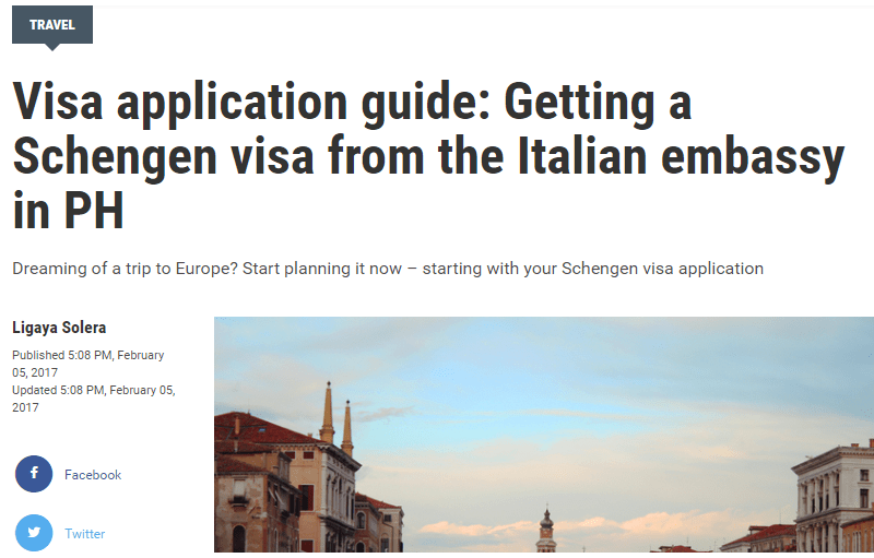 Visa application guide: Getting a Schengen visa from the Italian embassy in PH