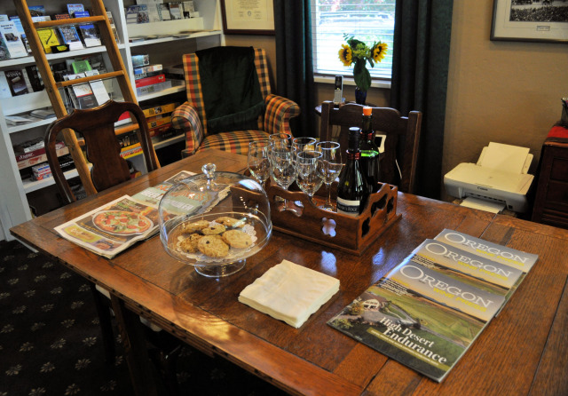 Wine and cookies in the library at The Oval Door Bed and Breakfast.