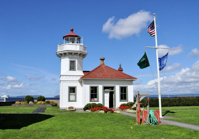The Mukilteo Lighthouse in Mukilteo, Washington.
