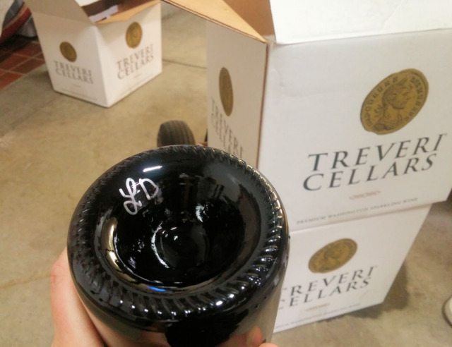 Making your own sparkling wine at Treveri Cellars.
