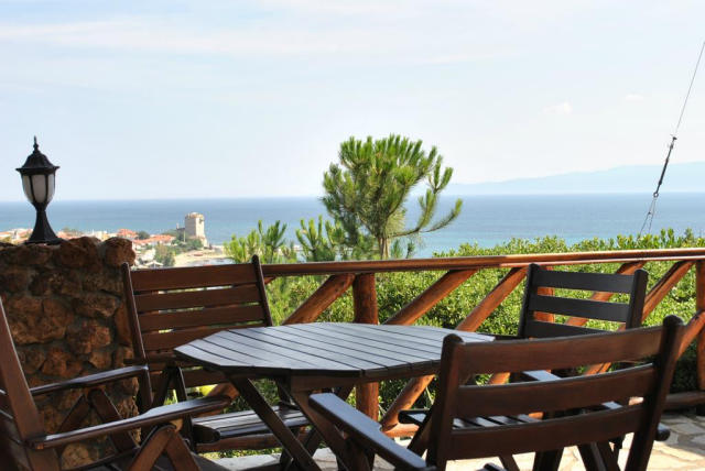 Private terrace at Pension Irini in Greece.