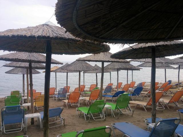 Beach bars in Psakoudia, Greece.