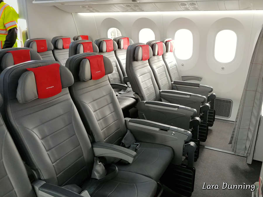 Economy seating on Norwegian Airlines.