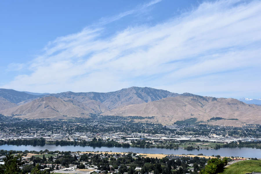 View of Wenatchee Washington and the Columbia River.